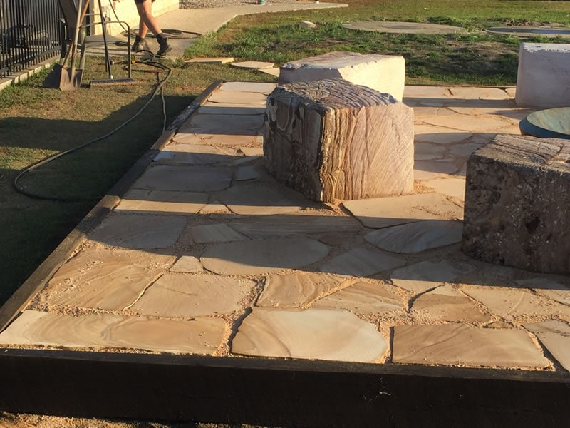 Sandstone Seating Around Fire Pit Brisbane