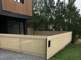Wooden batten fence