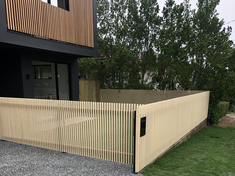 Wooden batten fence Elimbah